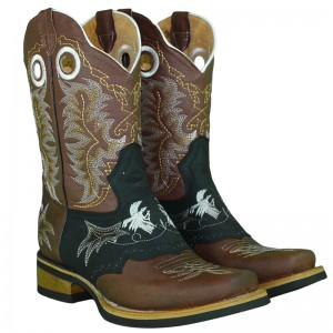 JUGO BOOTS® 6007 MEN'S RODEO BOOTS EMBROIDERY ROOSTERS CRAZY SHEDRON BLACK