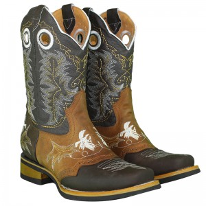 JUGO BOOTS® 6007 MEN'S RODEO BOOTS EMBROIDERY ROOSTERS CRAZY BROWN HONEY