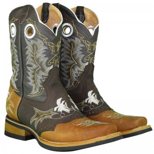 JUGO BOOTS® 6007 MEN'S RODEO BOOTS EMBROIDERY ROOSTERS CRAZY HONEY BROWN