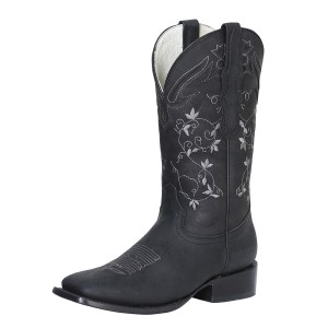 BOTA RODEO THE RED ROSE OF TEXAS TX-19-56 PIEL CRAZY NEGRO