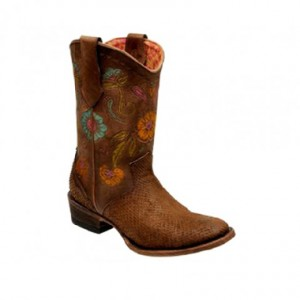 BOTIN CUADRA PARA DAMA PITHON COLOR CAFE 2104PH