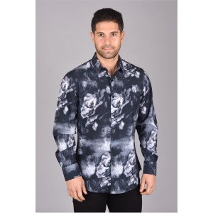 Men's Long Sleeve shirt grey with roses
