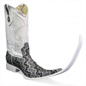 Jugo Boots® 4032 Botas de Hombre Tribal Bordado Dragon Negro/Plata (20 cm)