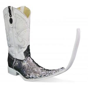 Jugo Boots® 4036 Bota Tribal de Hombre Lentejuela Bicolor Plata/Negro (20 cm)