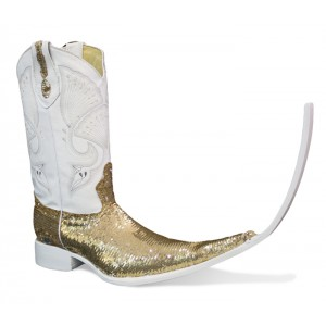 Jugo Boots® 4036 Botas Tribal Lentejuela Bicolor Dorado/Plata (20 cm)