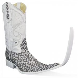 Jugo Boots® 4035 Botas de Hombre Tribal Bordado Escala Plata (20 cm)