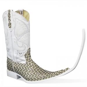Jugo Boots® 4035 Botas de HombreTribal Bordado Escala Dorado (20 cm)