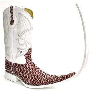 Jugo Boots® 510 Bota Tribal de Hombre Bordado Escala Rojo X Puntal (30 cm)