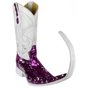 Jugo Boots® Bota Tribal de Hombre Lentejuela Bicolor Fiusha/Plata (20 cm)