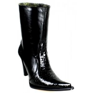 JUGO Boots® 015 Botineta de Mujer de Panza de Cocodrilo Negro