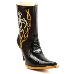 JUGO Boots® 015 Botineta de Mujer Pitón Twister Café Oscuro Suela Natural
