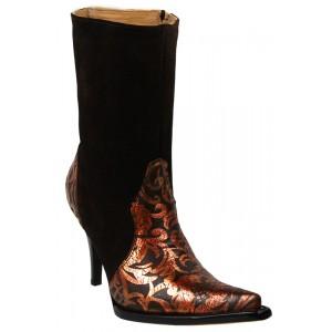 JUGO Boots® 019 Botineta de Mujer Troquelada Café Suela Negra