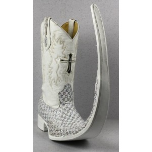 Jugo Boots® 8007 Bota de Hombre Tribal Diamante Plata X Puntal (30 cm)