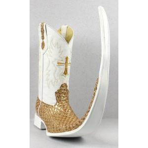 Jugo Boots® 8007 Bota de Hombre Tribal Diamante Dorado X Puntal (30 cm)