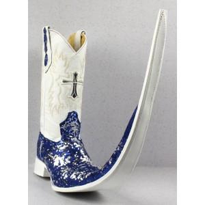 Jugo Boots® 8006 Bota de Hombre Tribal Lentejuela Azul/Plata X Puntal (30 cm)