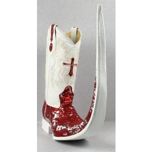 Jugo Boots® 8006 Bota de Hombre Tribal Lentejuela Rojo/Plata X Puntal (30 cm)