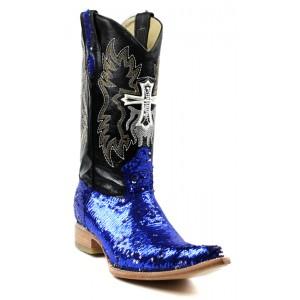 Jugo Boots® 2041 Bota Tribal de Hombre Lentejuela Azul/Plata