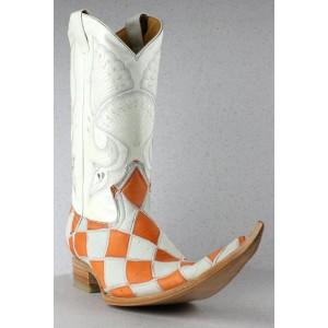 JUGO Boots® 4003 Bota de Hombre de Avestruz Rombos Naranja/Blanco