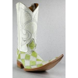 JUGO Boots® 4003 Bota de Hombre de Avestruz Rombos Pistache/Blanco