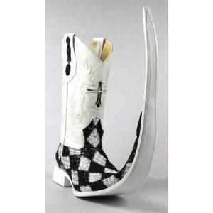 Jugo Boots® 8009 Bota de Hombre Tribal Rombos Diamante Negro/Plata X Puntal (30 cm)