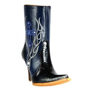 JUGO Boots® 015 Botineta de Mujer Pitón Twister Azul