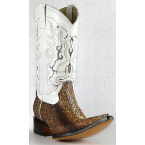 Jugo Boots® 9718 Bota de Hombre Vaquera Manta Reyna Resina Bitono Oro-Café