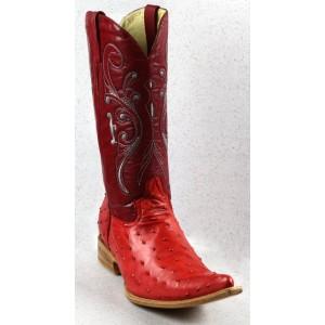 Jugo Boots® Bota de Hombre Vaquera Avestruz Rojo Aladino