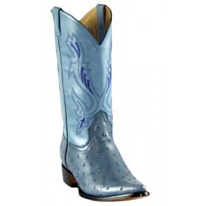 Jugo Boots® 1410 Bota de Hombre Vaquera Imit Avestruz Azul Mezclilla Puntal
