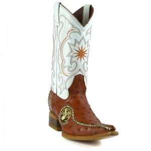 Jugo Boots® 9747 Bota de Hombre Vaquera Avestruz Liga Miel con Centenario
