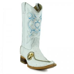 Jugo Boots® 9747 Bota de Hombre Vaquera Avestruz Liga Blanca con Centenario