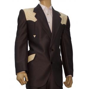 Saco de traje Vaquero Real West Cafe Obscuro con Aplicaciones de Avestruz Orix