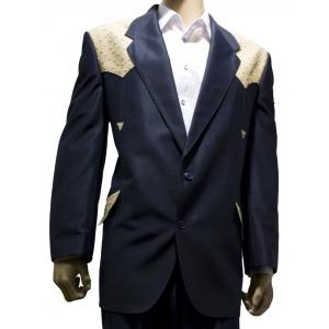 Saco de traje Vaquero Real West Azul con Aplicaciones de Avestruz Hueso
