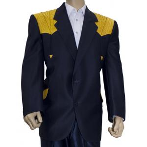 Saco de traje vaquero real west azul con aplicaciones de cocodrilo mantequilla