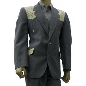 Saco de traje Vaquero Real West gris con aplicaciones de cocodrilo hueso