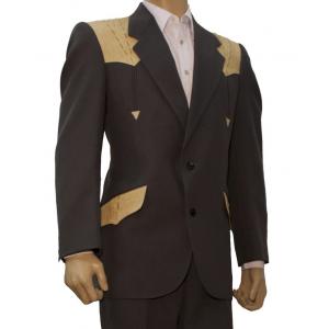Saco de traje vaquero real west gris obscuro con aplicaciones de cocodrilo orix